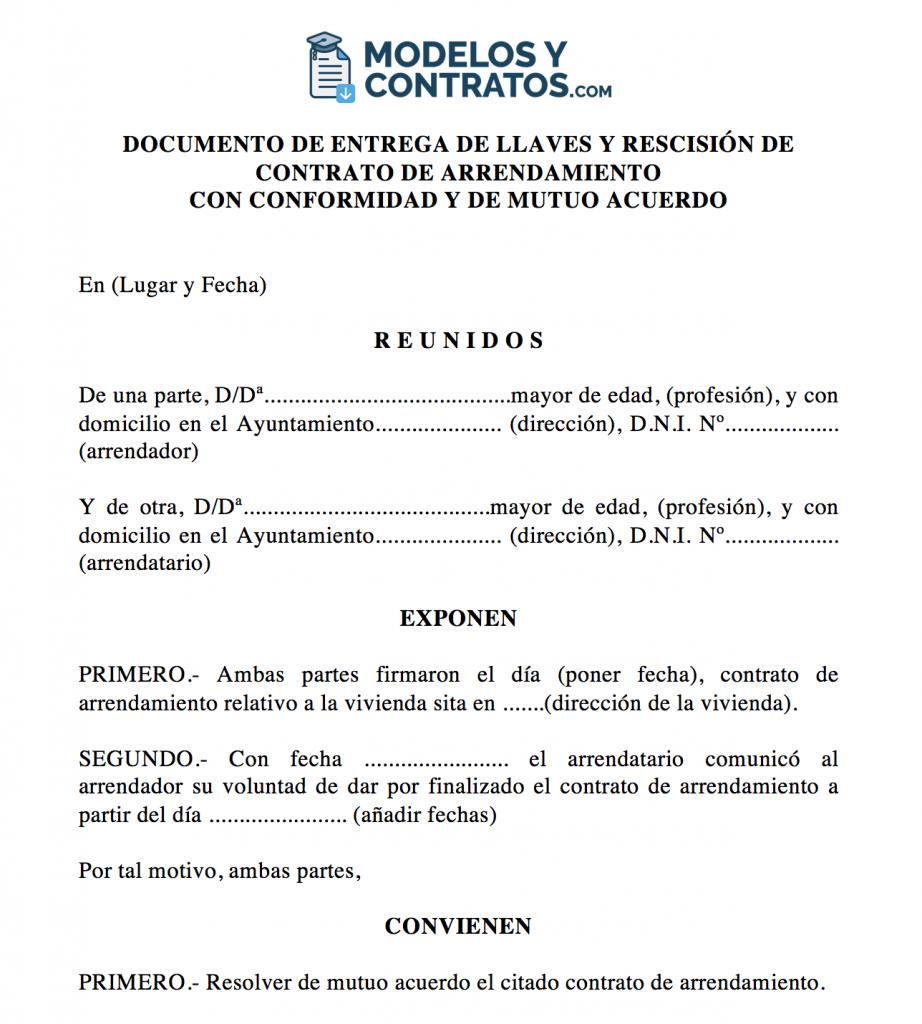 modelo para rescindir contrato de alquiler de vivienda con acuerdo de las partes.