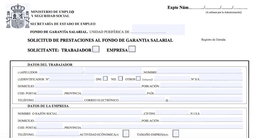 Solicitud de indemnización al FOGASA.
