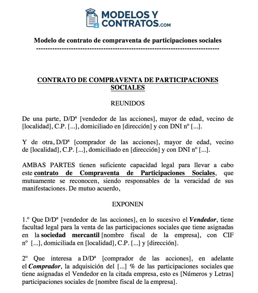 Modelo de contrato de compraventa de participaciones de una empresa o sociedad.