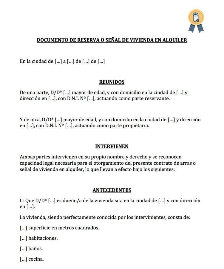 Modelo de documento de reserva de alquiler de vivienda.