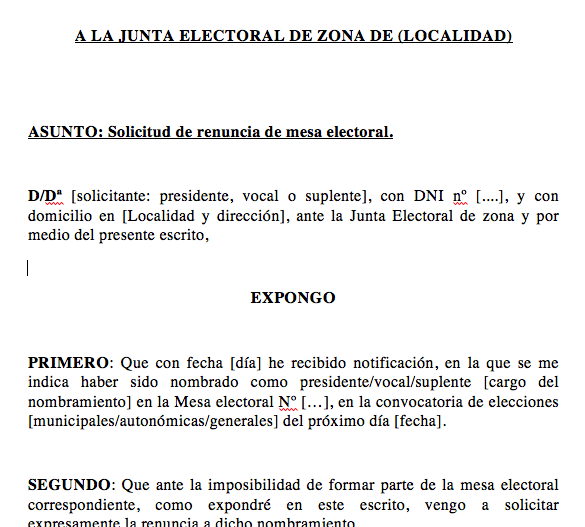 Descargar modelo carta excusas cargo de mesa electoral for Presidente mesa electoral