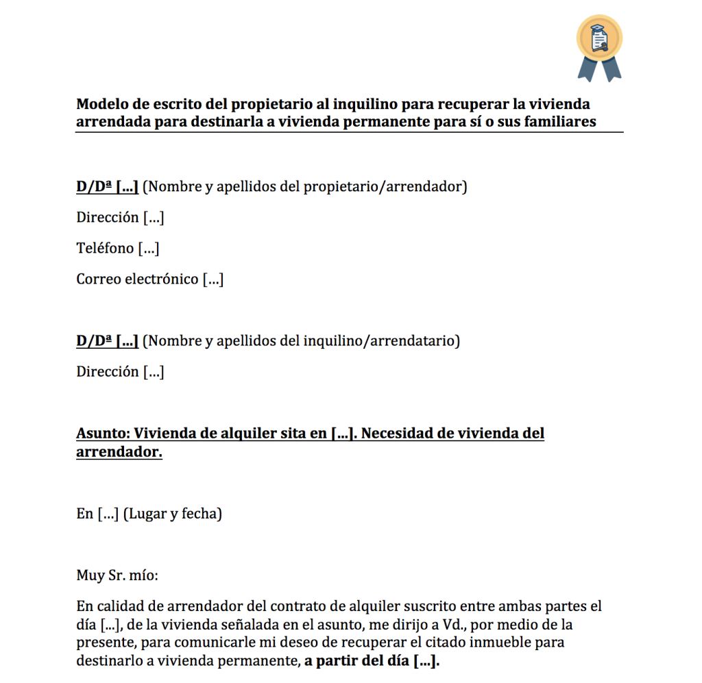 modelo de escrito para recuperar vivienda alquilada por necesidad.