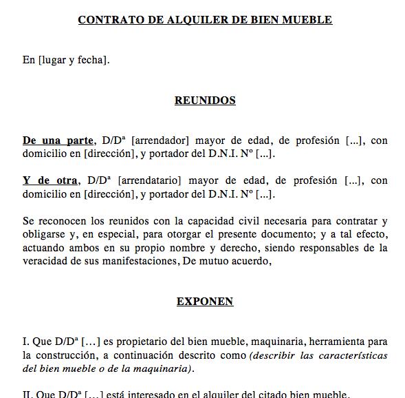 Contrato de Alquiler de Maquinaria o Herramientas » Modelos y contratos