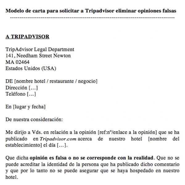 opiniones-tripadvisor-modelo-de-carta-para-solicitar-eliminar-comentarios-falsos