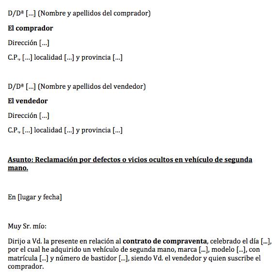8c69a265206b ... Escrito para Reclamar a Vendedor Particular Averías Ocultas Vehículo