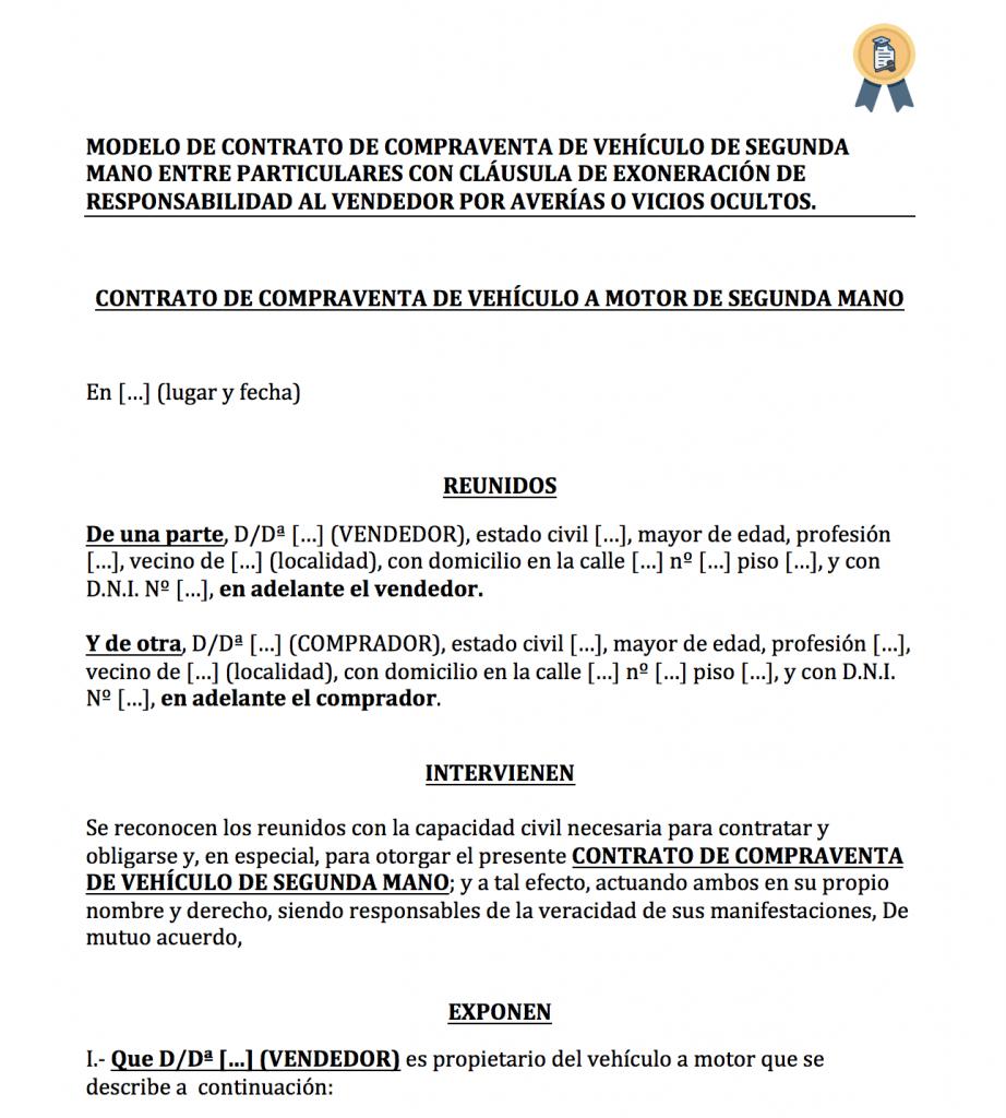 Modelo de contrato de compraventa de vehículo sin garantía (eximir vendedor).