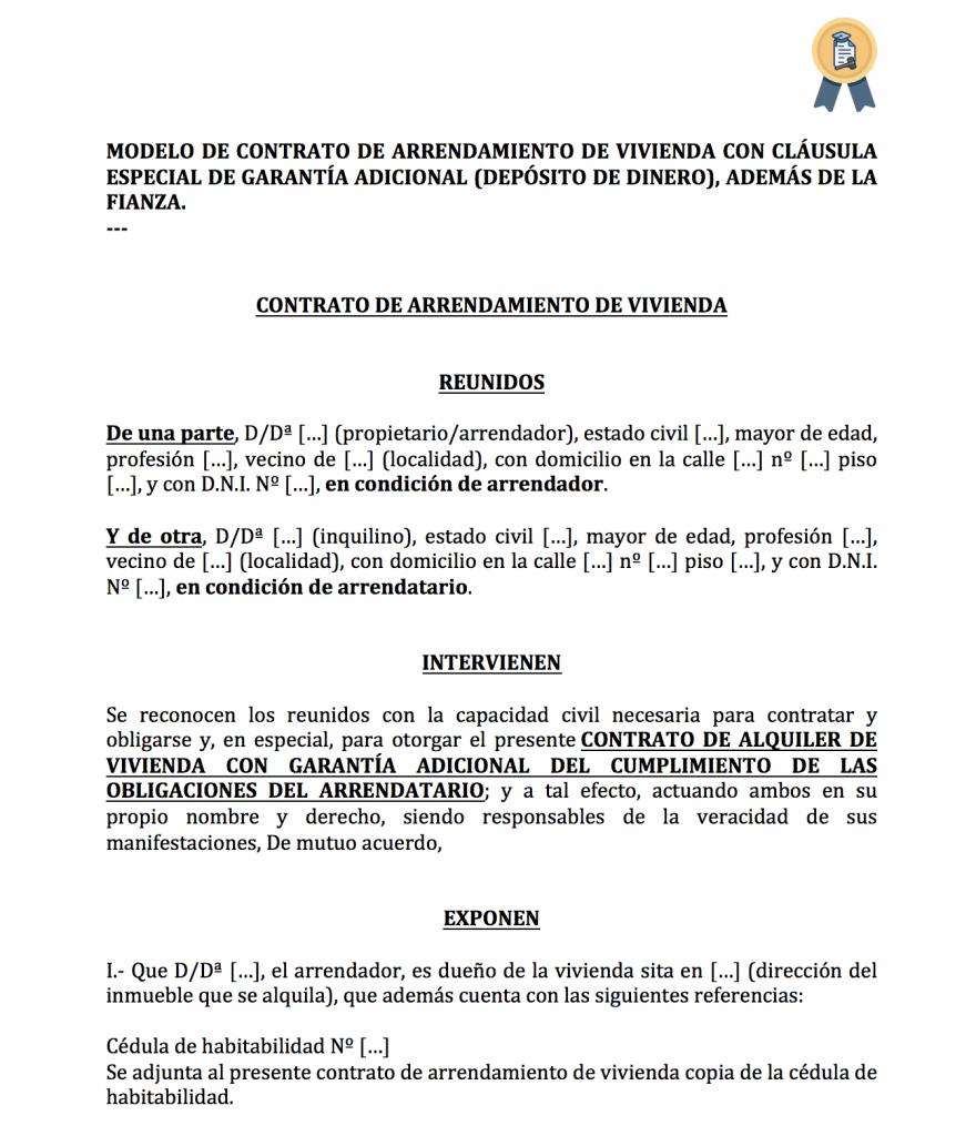 modelo de contrato de alquiler con garantía adicional (dinero)