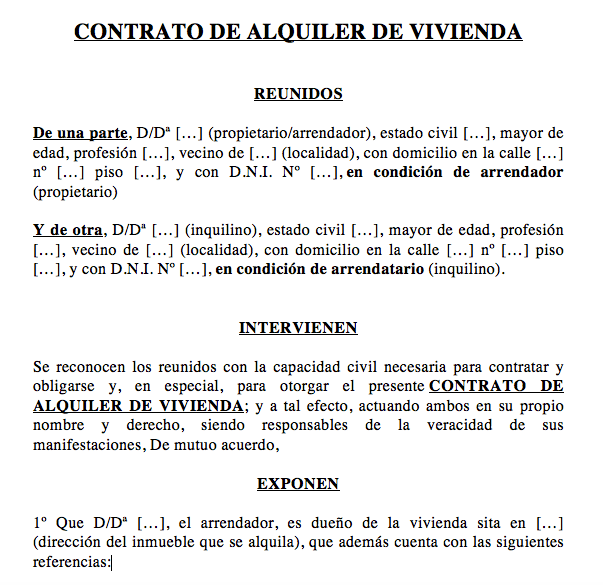 Contrato De Alquiler De Vivienda Modelos Y