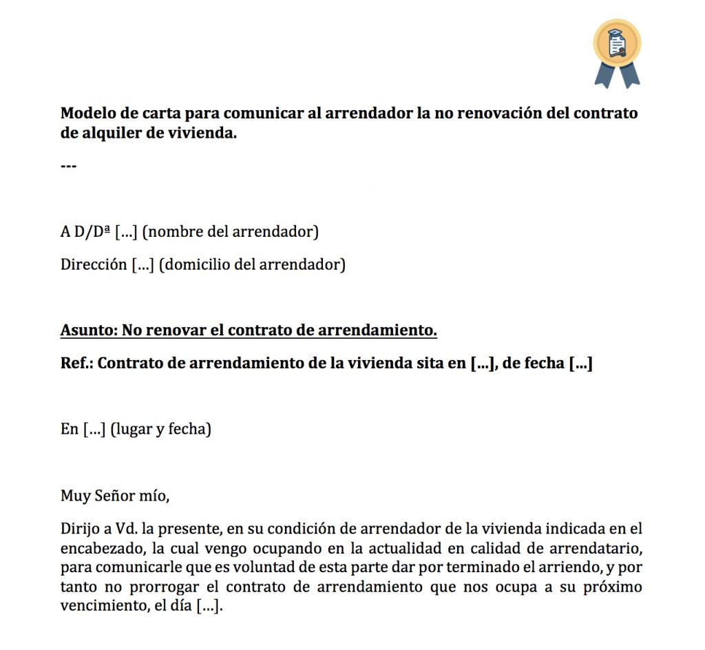 Carta para comunicar al casero la no renovación del alquiler.