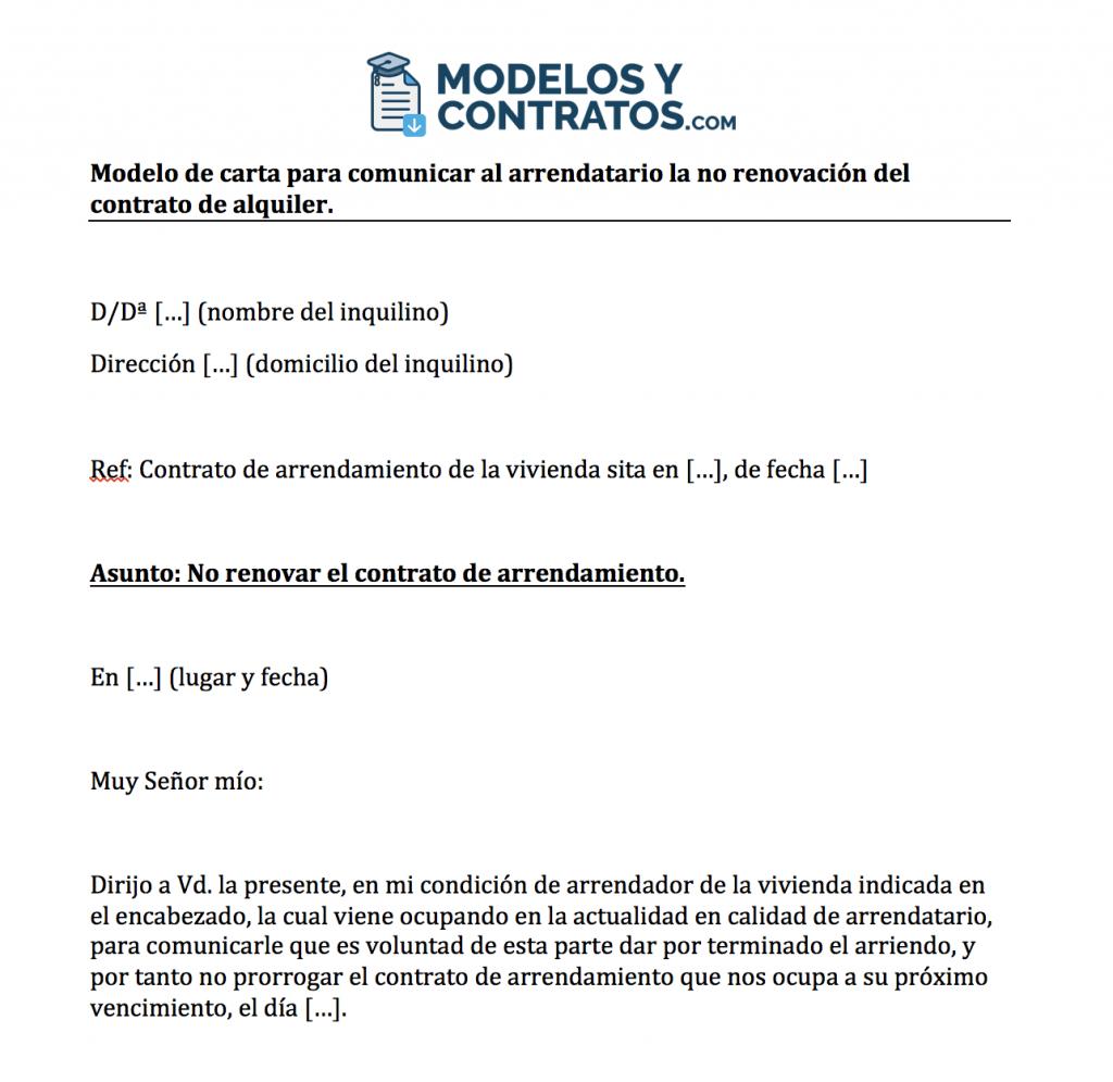 Modelo Para Comunicar A Inquilino No Renovación Contrato