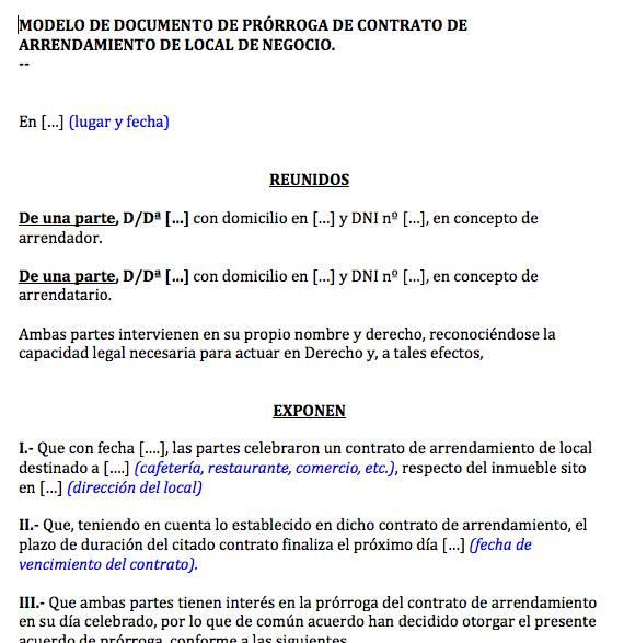Documento de pr rroga de contrato de alquiler de local for Contrato de arrendamiento de oficina