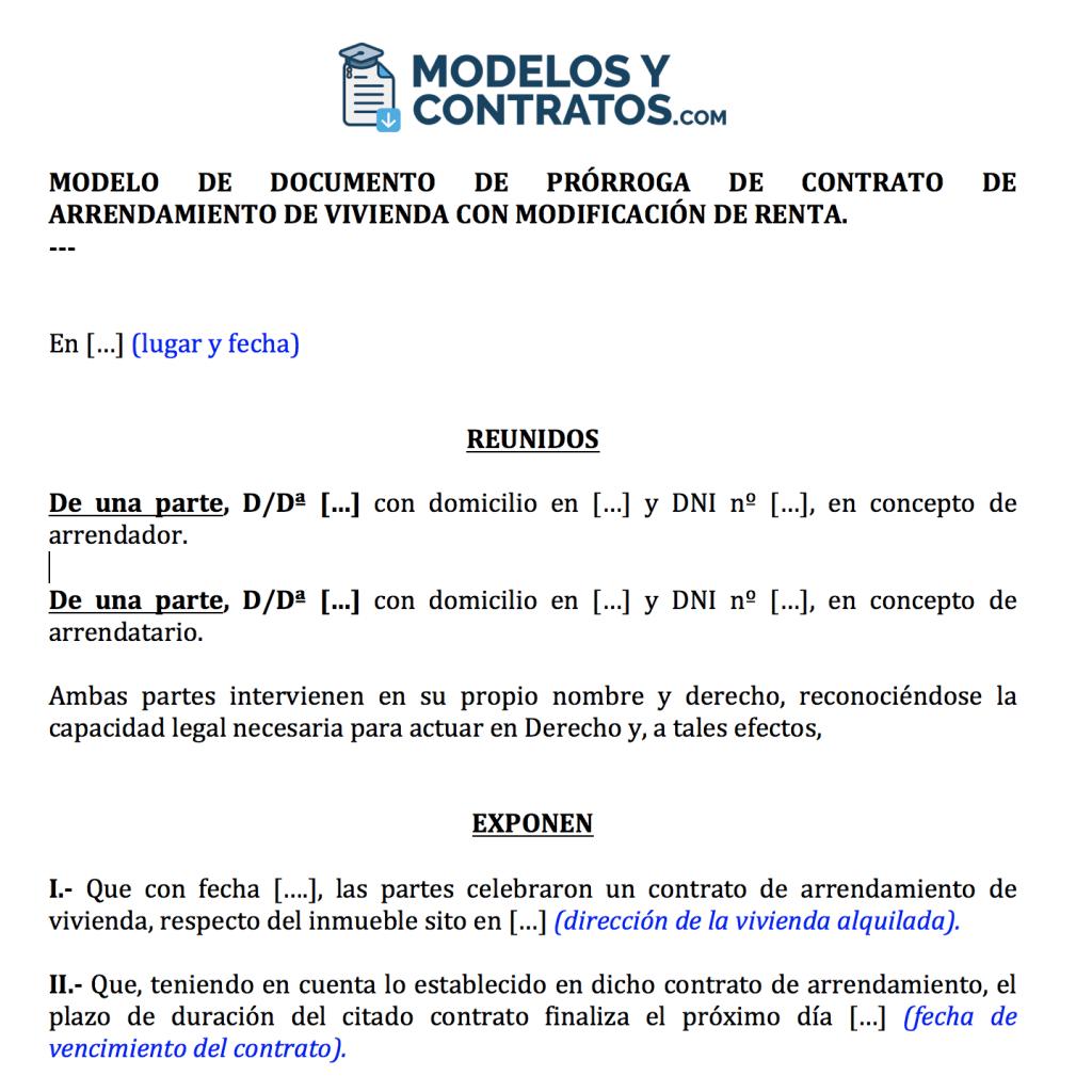 Anexo prórroga contrato arrendamiento modificación renta.
