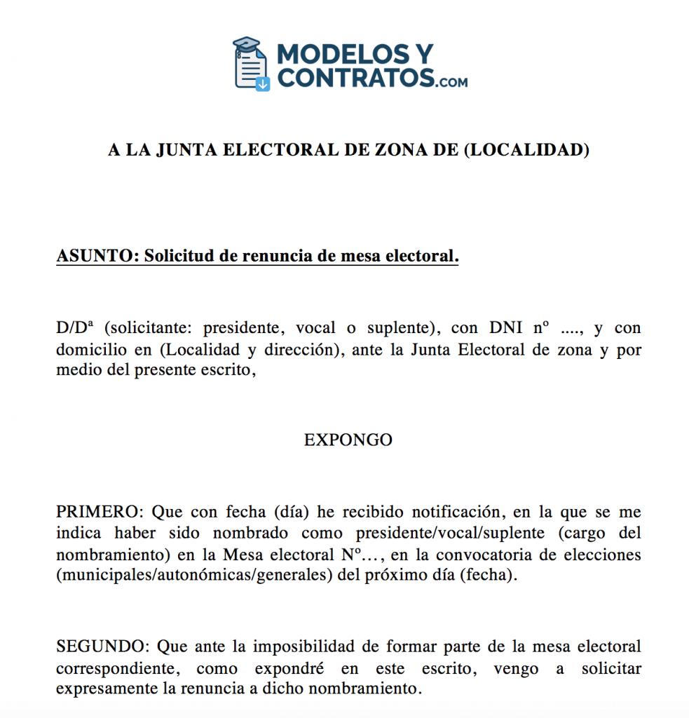 modelo para presentar excusas mesa elecciones generales Espana