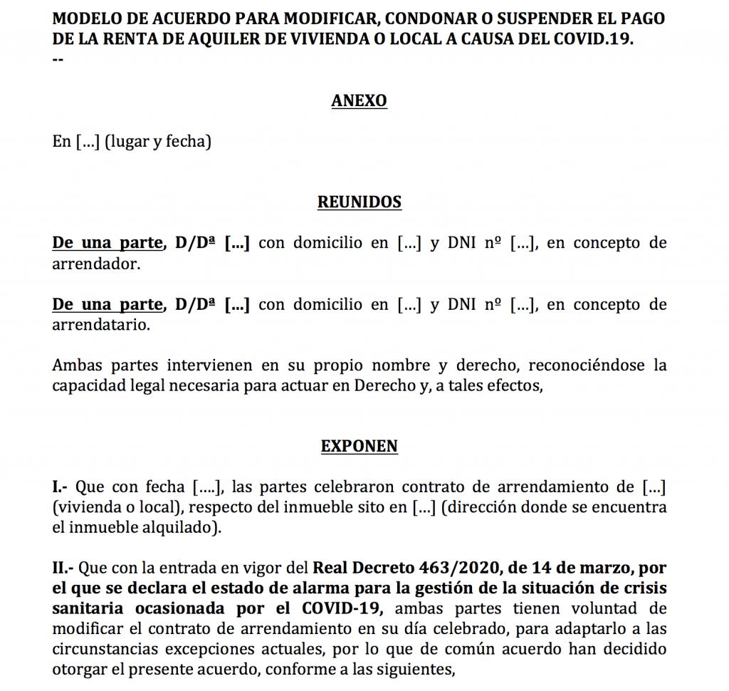 modelo de escrito para acordar modificación, suspensión o condonación del pago del alquiler por Cornavirus (COVID-19).