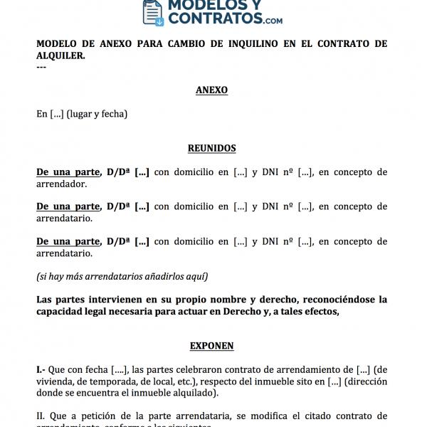 Documento anexo para cambio de arrendatario en contrato.