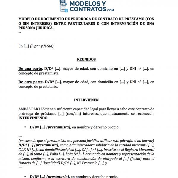 modelo de contrato para prorrogar un préstamo con o sin intereses.