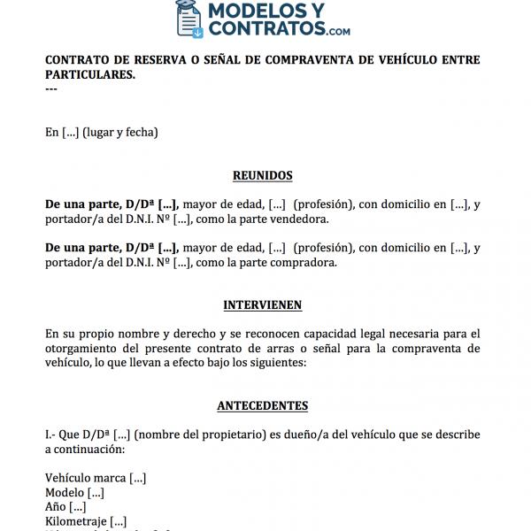Modelo de contrato para reservar un vehículo (coche, moto).