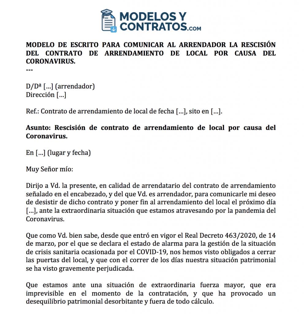 Modelo de escrito para comunicar resolución de contrato de arrendamiento de local por Coronavirus (COVID-19).
