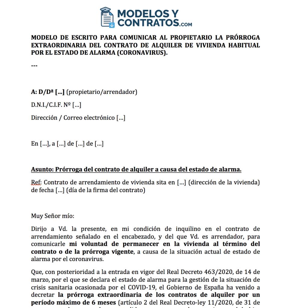 Solicitud para prorrogar el contrato de alquiler por el estado de alarma (coronavirus)