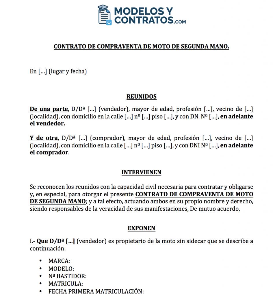 modelo de contrato para vender moto de segunda mano.
