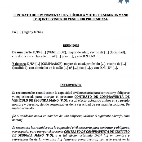 Modelo de contrato de compraventa de vehículos con garantía para vendedor profesional.
