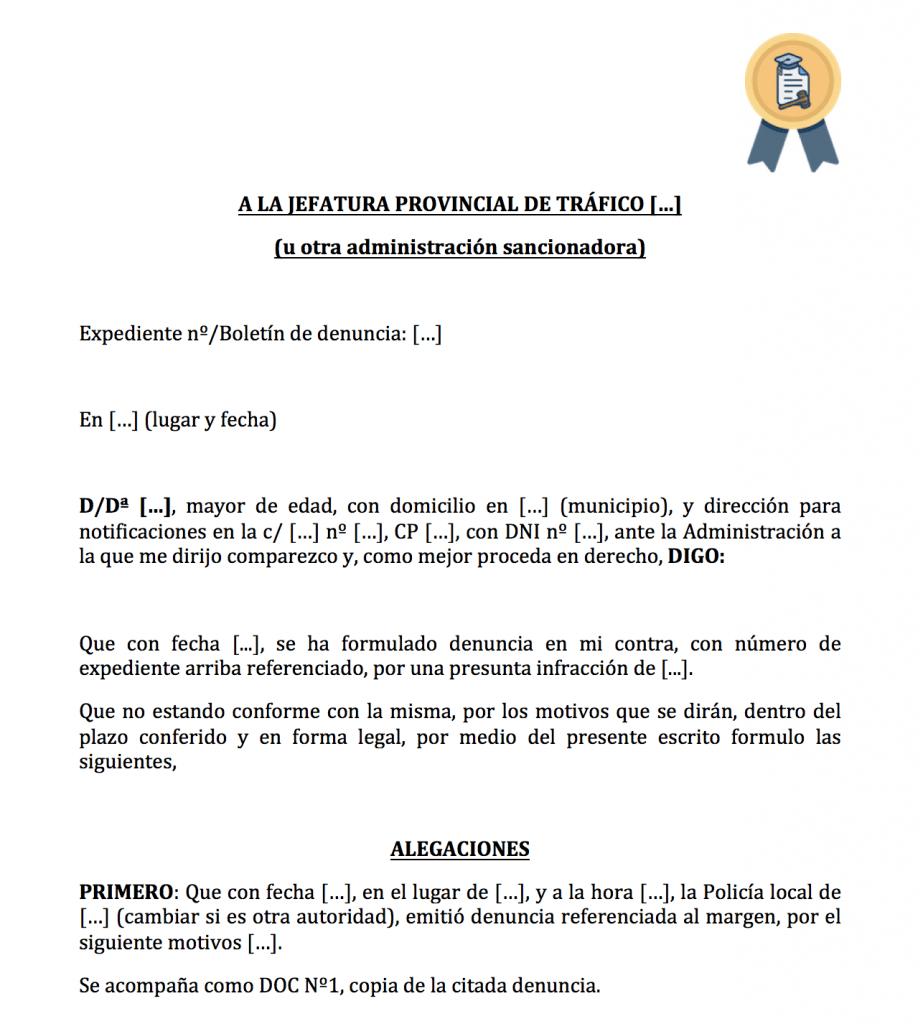Recurso para multa por señal no español.