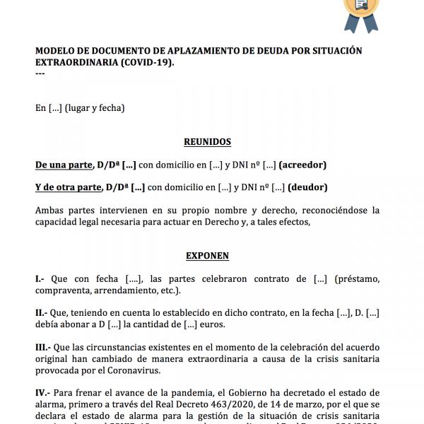 Documento para aplazar una deuda por Coronavirus (COVID-19).