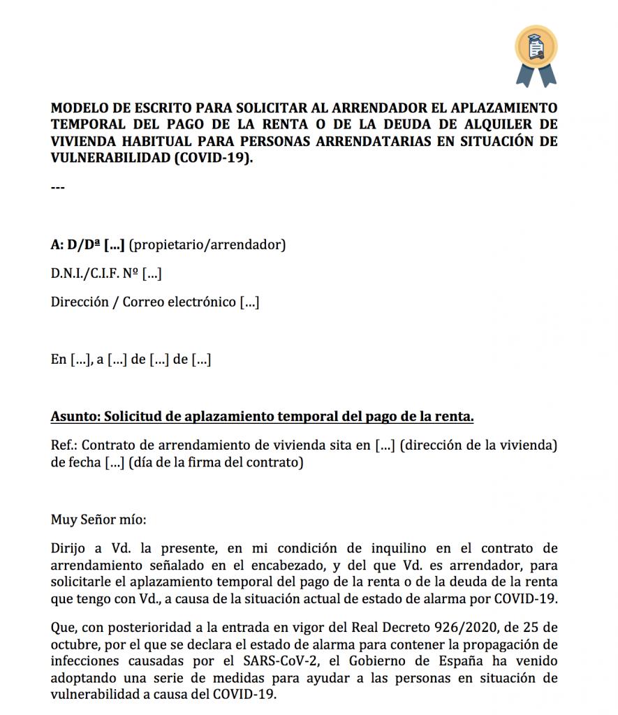 Modelo solicitud aplazar renta por vulnerabilidad del inquilino (COVID).